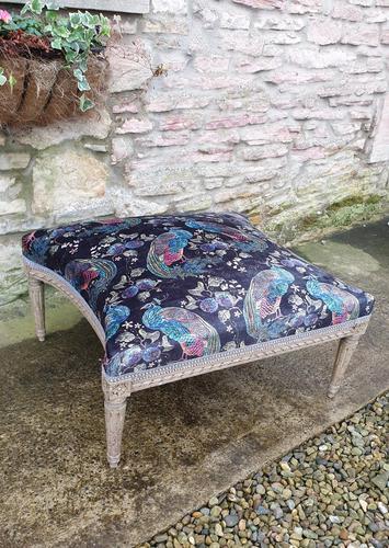 Large French Upholstered Lounge Stool c.1880 (1 of 7)