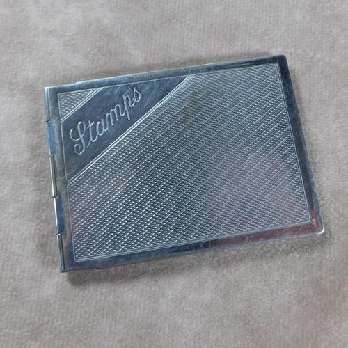 Chrome Plated, Engine Turned Stamp Case c1933 (1 of 8)