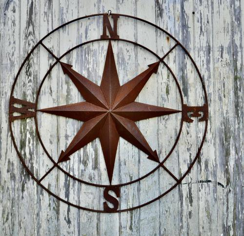 Iron Wall Hanging Nautical North South East & West, Ships Compass (1 of 6)