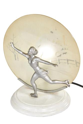 Art Deco Spelter Lady Skater Lamp with Snow Scene Painted Shade (1 of 6)