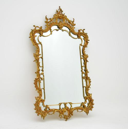 Large Antique Chippendale Style Gilt Brass Mirror (1 of 12)