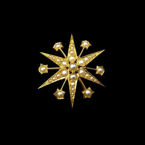 Antique Victorian Pearl 12 Point Star 15ct 15K Yellow Gold Pendant (1 of 6)