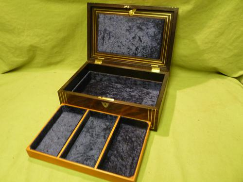Inlaid Unisex Rosewood Jewellery Box + Tray. c1835 (1 of 12)
