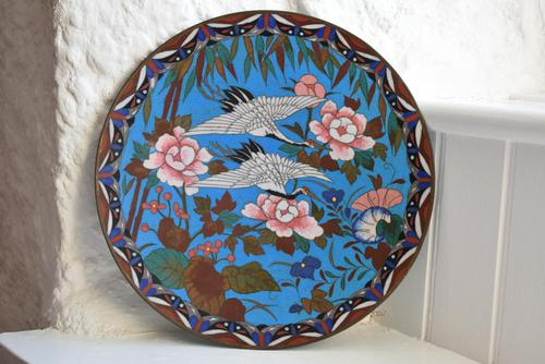Antique Chinese Large Cloisonne Dish Decorated With Two Storks in Flight (1 of 10)
