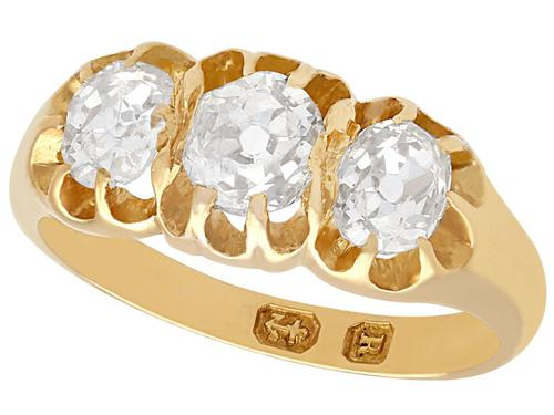 1.05ct Diamond & 18ct Yellow Gold Trilogy Ring - Antique 1866 (1 of 9)