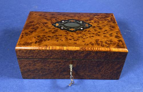 Victorian  French Burr Cedar Jewellery Box with It's Original Interior (1 of 13)