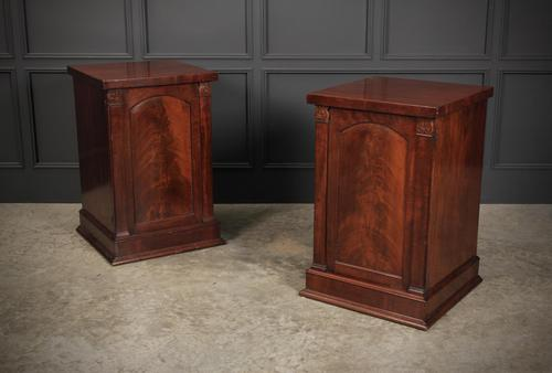Pair of William IV Flame Mahogany Pedestal Cabinets (1 of 15)