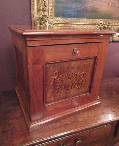Antique Walnut Three Drawer Filing Cabinet c.1900 (1 of 9)