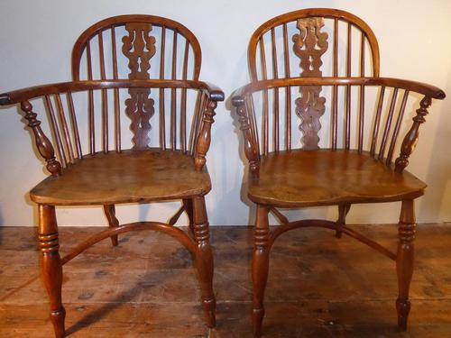 Matched Pair of Yew Windsor Chairs (1 of 13)