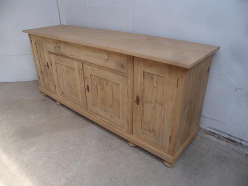 Large 2 Metre Antique Pine 4 Door Dresser Base / TV Stand to wax / paint (1 of 8)