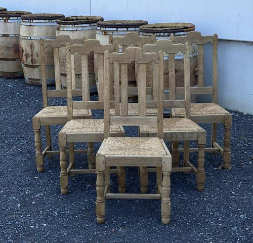 Set of 6 French Bleached Oak Farmhouse Dining Chairs (1 of 13)
