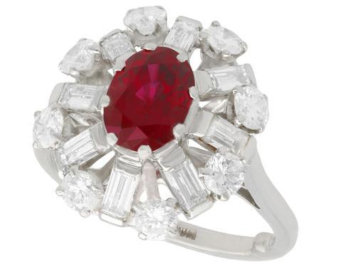 2.02ct Ruby & 1.60ct Diamond, Platinum Cluster Ring - Vintage c.1960 (1 of 12)