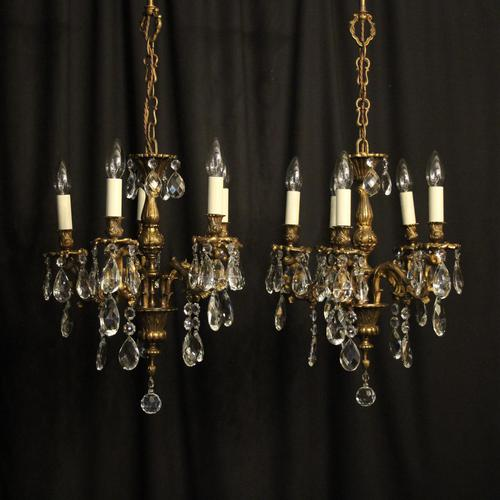 Italian Pair of 5 Light Antique Chandeliers (1 of 8)