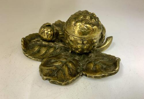 Victorian Brass Leaf & Nut Novelty Inkwell c.1900 (1 of 7)