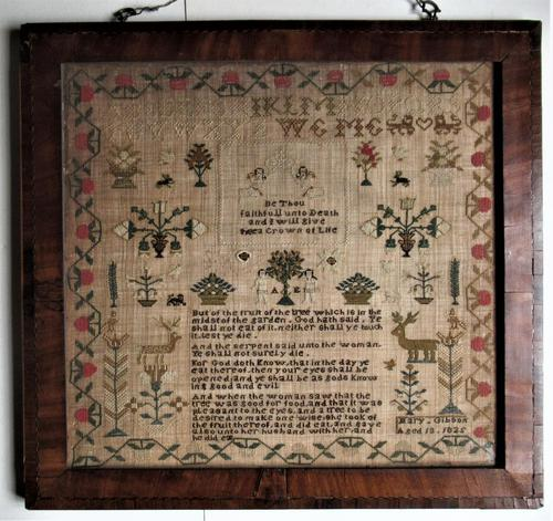George IV English Adam & Eve Silk on Linen Needlework Sampler, 1825 in Original Frame (1 of 9)