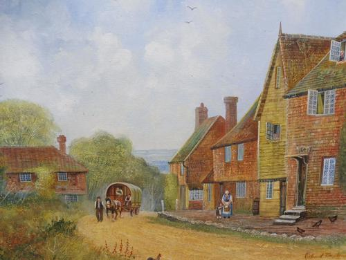 Large oil on canvas English countryside view  Listed artist Richard Temple (Free shipping to Mainland England) (1 of 10)