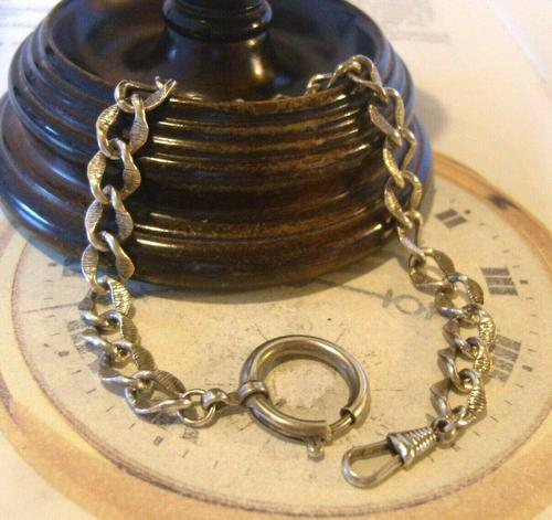 Antique German Pocket Watch Chain 1920s Ornate Silver Nickel Fancy Albert (1 of 11)
