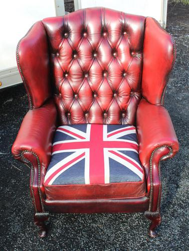 1960s Chesterfield Red Leather Wing Back Armchair with Union Jack on Seat (1 of 3)
