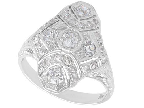 1.18ct Diamond & 14ct White Gold Dress Ring c.1930 (1 of 9)