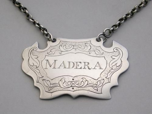 Provincial Silver Wine Label 'Madera' Misspelling Ex Scawby Hall, Unmarked c.1760 (1 of 6)