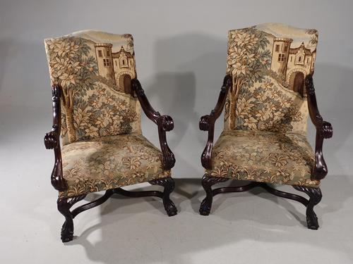 Large & Finely Carved Pair of Early 20th Century Throne Type Chairs (1 of 5)