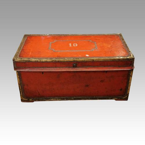 Regency Red Leather Camphorwood Trunk (1 of 8)