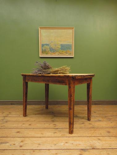Small Antique Pine Scrub Top Kitchen Table, Top Stripped Ready for Use (1 of 16)