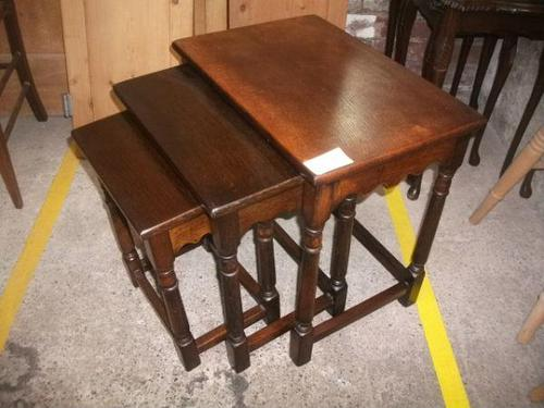 Nest of Three Oak Occasional Tables (1 of 2)