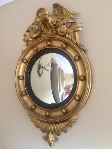 Fine Irish Regency Gold Giltwood Convex Mirror with Eagle Crest (1 of 6)