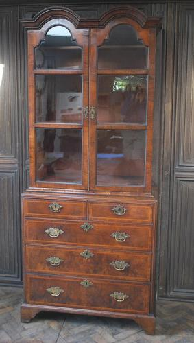 George I Walnut Double Dome Bookcase on Chest (1 of 10)