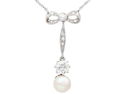 Pearl & 1.50ct Diamond, 14ct Yellow Gold Necklace - Antique c.1910 (1 of 9)