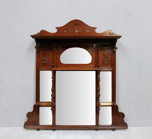 Victorian Aesthetic Movement Walnut Overmantel Mirror (1 of 6)