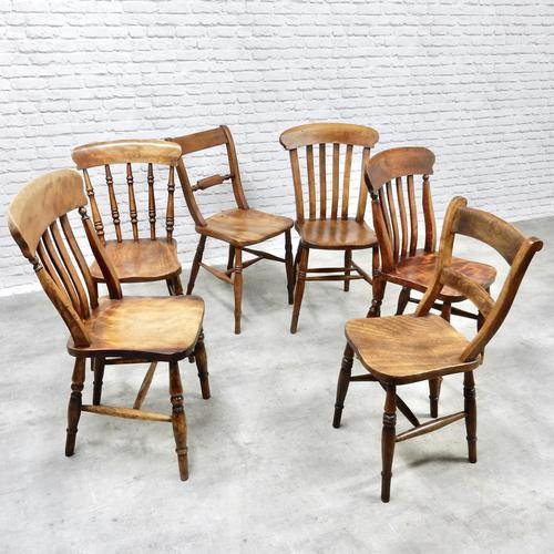 Antique Harlequin Set of 6 Kitchen Chairs (1 of 6)