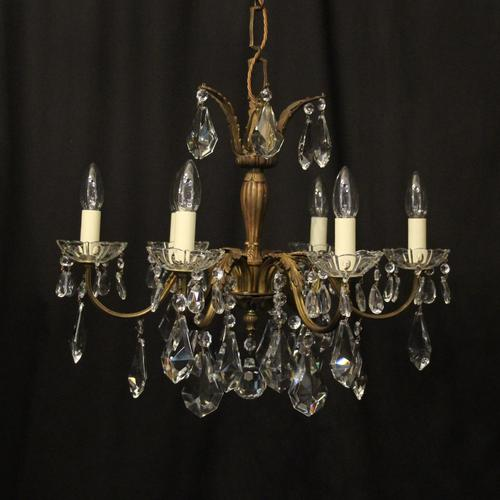 French Gilded 6 Light Chandelier c.1930 (1 of 10)
