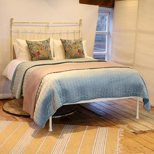 Brass & Iron Antique Platform Bed in Cream (1 of 5)