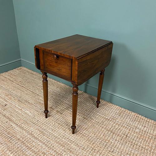 Rare Regency Rosewood Small Antique Pembroke Table (1 of 7)