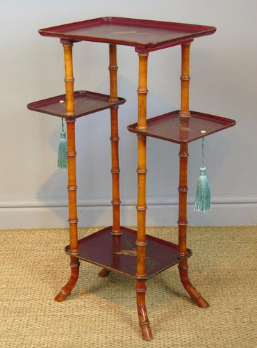 Antique French Lacquered & Faux Bamboo Table Stand (1 of 5)
