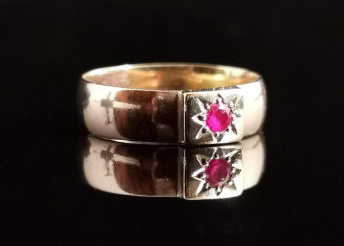 Antique Ruby Band Ring, 9ct Gold, Gypsy Set (1 of 13)