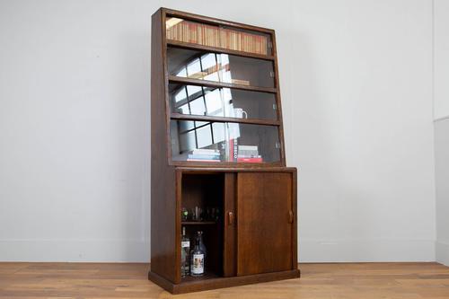 1930s Vintage Oak Glazed Bookcase Cabinet (1 of 16)