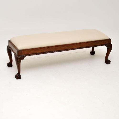 Antique Chippendale Style Mahogany Foot Stool (1 of 7)