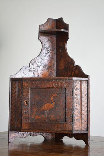 Pokerwork Corner Cupboard Late 19th Century (1 of 10)