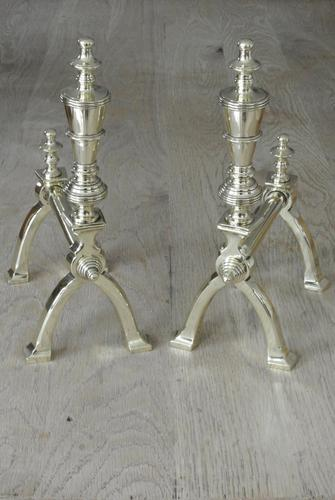 Good Pair of Victorian Aesthetic Movement Brass Fire Dogs Fire Iron Rests Andirons c.1880 (1 of 10)