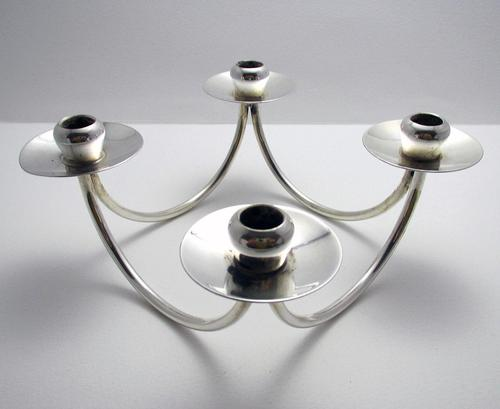 Danish Retro Silver Plated 4-armed Candelabra Table Candle Holder Candlestick, BERG Denmark c.1960 (1 of 6)