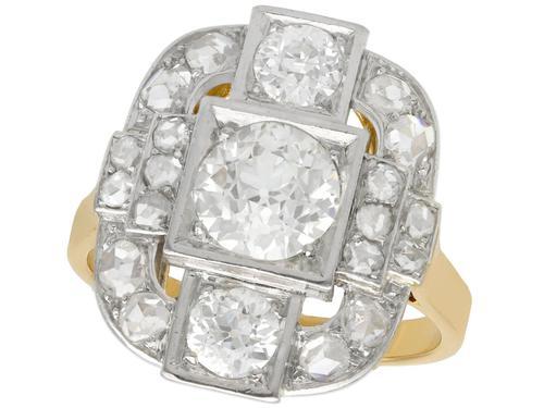 2.65ct Diamond & 18ct Yellow Gold, Platinum Set Dress Ring - French c.1925 (1 of 9)