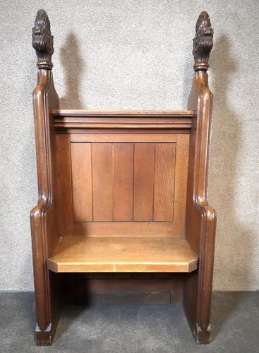 Victorian Carved Oak Gothic Church Pew (1 of 12)