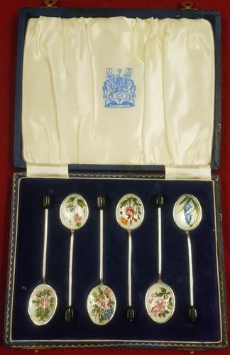 Cased Sterling Silver & Enamelled Coffee Spoons (1 of 3)