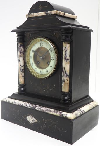 Very Fine French Slate & Marble Mantel Clock 8 Day Striking Mantle Clock (1 of 10)