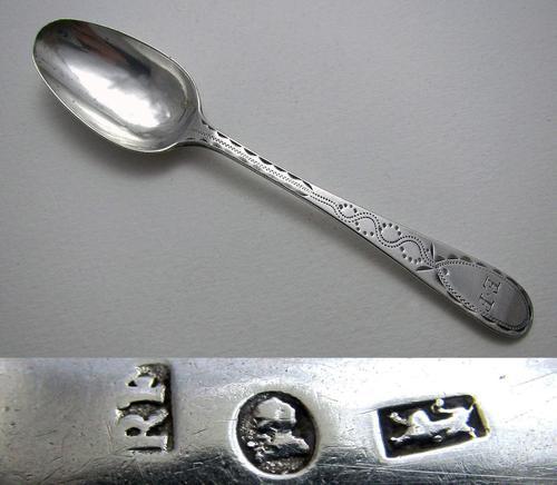 Exeter George III Solid Sterling Silver Bright-cut Provincial Georgian Tea Spoon, Richard Ferris, 18th-Century c.1790 (1 of 5)