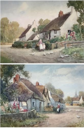 J.W.Miliken Pair of Watercolours 'Evening Ince Blundell & Afternoon Near Chipping, Camden' (1 of 5)