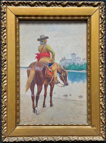 Exceptional Quality 19th Century Miniature Watercolour Painting of Horseman - Cowboy (1 of 11)